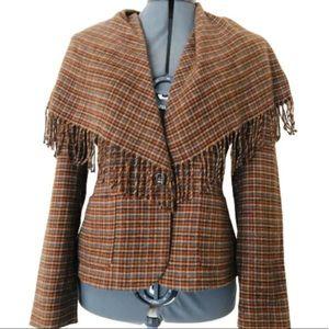 WORTH Shawl Jacket Size 4 Brown Checkered